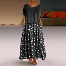 Casual Round Collar <b>Dot</b> Print Dress | Цветочные наряды, Платье ...