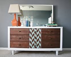 miss kitty and the bears dresser set makeover the planning stage mid century dresser from dream green diy weird paint job yes but it actually looks really cool combined the wood stain she used