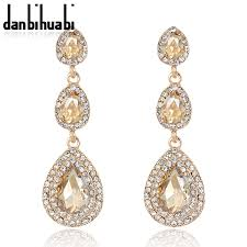 <b>Top Luxury Champagne</b> Crystal Earrings Gold Color Jewelry ...