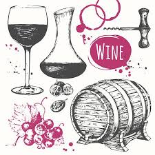 Vector Illustration With <b>Wine Barrel</b>, <b>Wine</b> Glass, <b>Grapes</b>, <b>Grape</b> ...