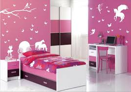 pretty kids bedroom furniture color ideas with pink wall along white butterfly motive wall sticker also black and pink bedroom furniture