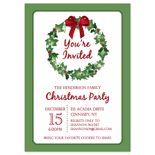 holiday party invitations templates net printable christmas party invitation template christmas wreath party invitations