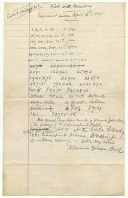 listen to the resurrected voice of alexander graham bell handwritten list of numbers witnessed by alexander graham bell on 15 1885 unregistered