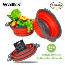 <b>2pcs</b>/set <b>Foldable Silicone Colander</b> Fruit Vegetable Washing ...