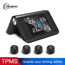 VEHEMO <b>Smart Car TPMS Tyre</b> Pressure Monitoring System Solar ...