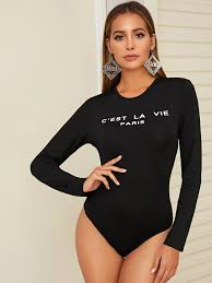Letter Graphic Fitted Tee Bodysuit, Black, Giulia - shein.com - imall ...