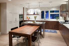 table for kitchen: bewitching island table for kitchen and nice chairs also glass chandeliers plus l shape cabinets