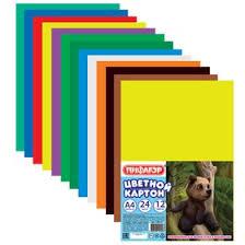 <b>Картон цветной ПИФАГОР</b> А4, 24 листа, 12 цветов (128012 ...
