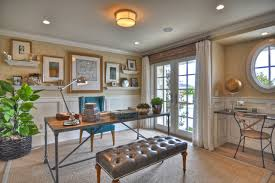 beach style home office among long desk blue chair long grey bench wooden floor also brown carpet blue brown home office