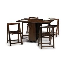 dining table with wheels: antique and vintage double rectangular drop leaf dining table painted with dark brown color with wheels and  folding chairs sets ideas