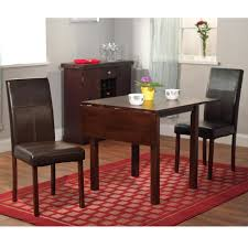 three piece dining set: dining room set wooden furniture  piece drop leaf table leather