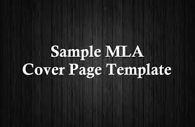 sample mla cover page template sample mla cover page template