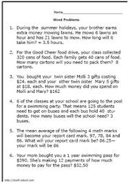 5th Grade Math Word Problem WorksheetsWorksheet # 1 Solutions
