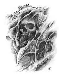 bio <b>mechanical skull</b> sketches by frankenshultz | Bio organic tattoo ...