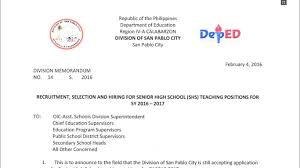 deped san pablo city recruitment selection and hiring for senior deped san pablo city recruitment selection and hiring for senior high school teaching positions teacherph