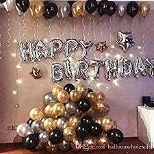 TRISHRA Happy Birthday Letter Foil Balloon <b>Set</b> of (Silver)+HD ...