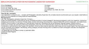 pathology laboratory supervisor application letters   photographic laboratory supervisor