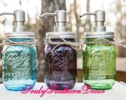 dog faces ceramic bathroom accessories shabby chic: pint mason jar soap dispenser vintage blue vintage green vintage purple