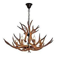 QIRUI Antlers chandeliers E12 <b>Bulb</b> 6-<b>Light Antique</b> Ceiling Deer ...