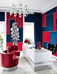home office martyn lawrence bullard tommy hilfiger fashion designer contemporary interior blue office decor