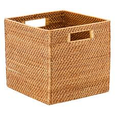 size bathroom wicker storage: copper rattan storage cube with handles