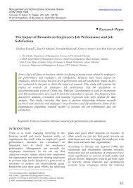 research paper pdf the impact of rewards on employee s job research paper pdf the impact of rewards on employee s job performance and job satisfaction by zeeshan fareed zain ul abidan farrukh shahzad