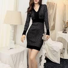 New <b>European Fashion</b> Hit Color Waist Double Dress Black <b>Casual</b>