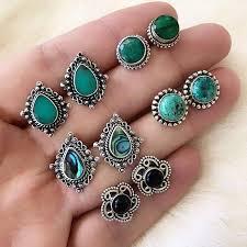 5Pairs/Set Water Drop Green Stone Stud <b>Earrings</b> for Women Boho ...