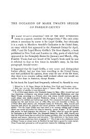 the occasion of mark twain s speech on foreign critics springer inside