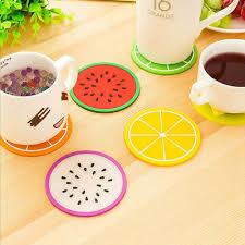<b>6PCS</b>/Set <b>Fruit</b> Coasters <b>Silicone</b> Cup Holder Mat Placemat Pad ...