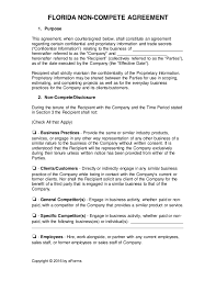 florida non compete agreement template word pdf eforms how to write