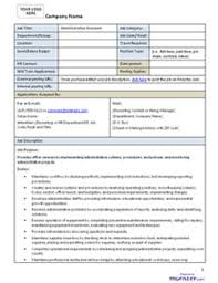 Administrative Assistant Job Description, Administrative Assistant ... Administrative Assistant Job Description Template