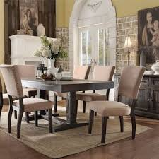 wood distressed dining chairs set