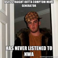 Uses straight outta comptom meme generator has never listened to ... via Relatably.com