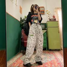 <b>HOUZHOU</b> Hippie Wide Leg Pants Women 2000s Aesthetic Korean ...