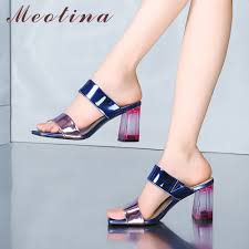 Meotina Women Slippers Summer <b>Shoes Patent</b> Leather Chunky ...