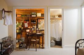 view in gallery tiny shabby chic home office makes most of the available closet space design kathy chic home office design