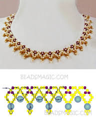Free pattern for <b>necklace</b> Miranda <b>seed beads</b> 11/0 pearl beads 4 mm