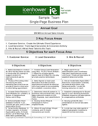 the one page real estate business plan sample team business plan real estate business plan