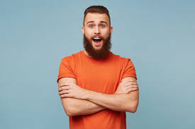 Free Photo   Emotional excited <b>funny man</b> with a heavy beard <b>stands</b> ...