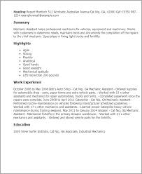 Resume Templates  Mechanic Assistant My Perfect Resume