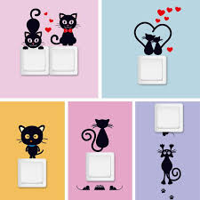 <b>DIY Creative Black Cat</b> Love Cartoon Removable Switch Stickers ...