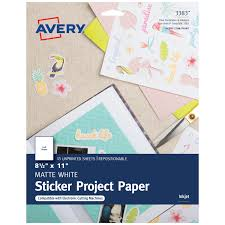 Avery Printable <b>Sticker Paper</b>, Matte White, Inkjet, 15 <b>Sheets</b> (3383 ...