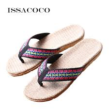 <b>ISSACOCO 2018 Women's</b> Linen Flip Flops Slippers <b>Women</b> Flat ...