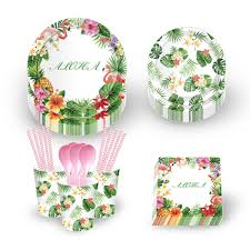 7 inch <b>Summer</b> Green Leaves Flowers Plant Disposable Plates ...