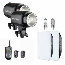 2X <b>Godox E300</b> 600Ws Studio Strobe Flash Light + Trigger + ...