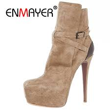 <b>ENMAYER</b> Brand <b>Women Ankle Boots</b> 2018 Pointed Toe 4.75 ...