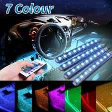 remote control 4pcs 36 led car interior floor decor atmosphere mood strip light changeable colors car mood lighting