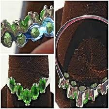 <b>Gorgeous</b> 9k <b>White</b> Gold <b>Green Peridot</b> ? Pronged Stones Ring ...
