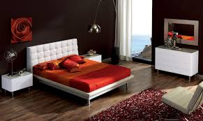 modern white platform low profile bed with upholstery tufted headboard and red master bed sheet also bedroom furniture modern white design
